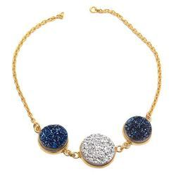 925 Sterling Silver Three Druzy Hot Style Morgan Chain Bracelet Micron Gold Plated Careable Jewelry