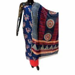 Unstitched  Hand Printed Chanderi Silk Suit