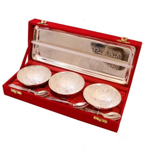 Brass Round Silver Triple Bowl With Spoon & Tray, Packaging Type: Box