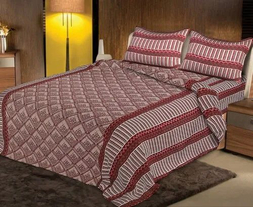5722507f99 Maroon Mk Connect Cotton Double Bed Sheet Set, 1 Bedsheet And 2 Pillow Cover ,