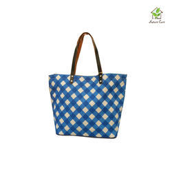 Jute Bag With Blue Stripes