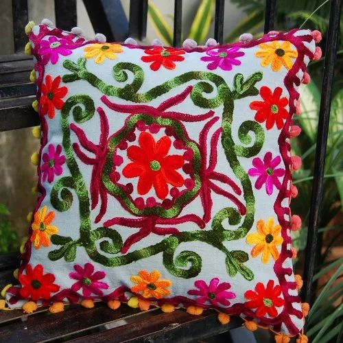 Multi Color Square Embroidered Cushion Covers