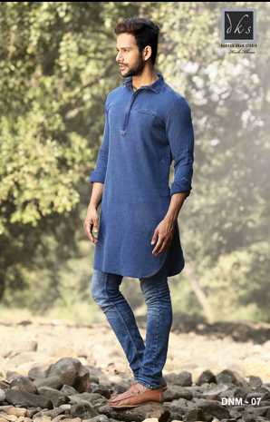 Blue Denim Kurta Dnm 07 Rs 2600 Piece Dawood Khan Tailors Id