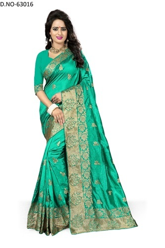 1ad0c05b880 Green Lr Fashion Fancy Embroidery Art Silk Saree With Blouse 63016 ...