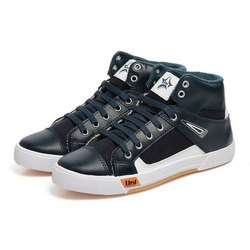 Mens Blue White High Ankle Canvas Shoes