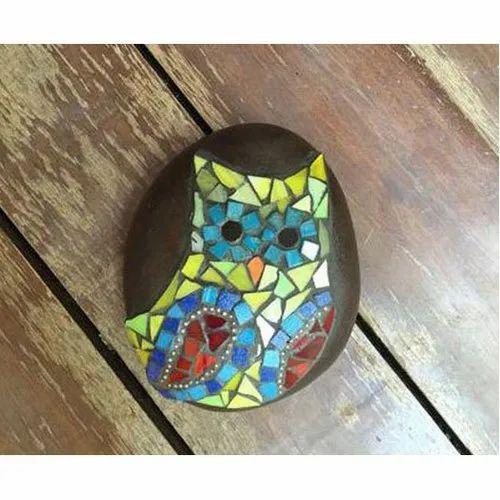 Mosaic Multicolour Owl Pebble