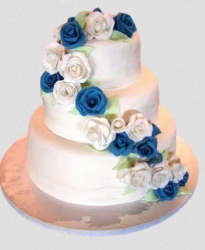 Blue And White Roses Wedding Cake