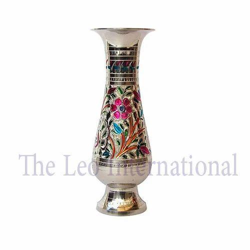 Decorative Brass Handicrafts Flower Vase Meenakari finish