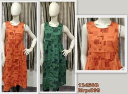 13450 Cotton linen printed Dress