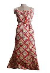 Ladeis Cotton Printed Halter Neck Long Dress