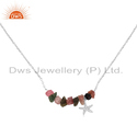 Bio Tourmaline Beaded 925 Fine Silver Star Charm Chain Necklace