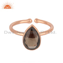 Natural Smoky Quartz Gemstone Rose Gold Plated Silver Ring Jewelry
