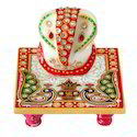 4'x4' Marble Chowkee with Ganesha