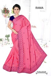 Party Wear Border Milli - Silk Embroidery Saree With Blouse 118STF5E28593