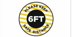 6 Feet Social Distance Vinyl Floor Sticker