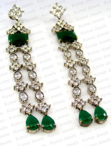 4c9c15464 Kumar Jewels Wedding And Party Wear Emerald Long Earrings, Rs 1348 ...
