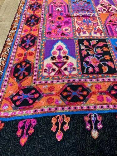 Kshitiz Textiles Rectangular Pashmina Fine Wool Embroidery ...