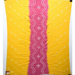 Yellow and Pink Color Cotton Bandhani Kurti
