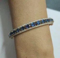 Handmade 925 Silver Blue Sapphire Gemstone Bangle Bracelet Gold Plated Openable