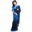 Ladies Black Sky Soft Khadi Cotton Saree