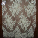 White Net Beaded French Lace Fabric, Packaging Type: Roll
