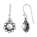Crimson Kiss 925 Sterling Silver Pearl Earrings