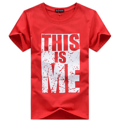 4be795076 Small , Large Grey , Red Letter Printed Short Sleeve Mens T-Shirt ...