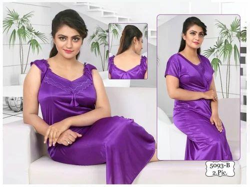 c9f15ca65e Fabme Womens Plain Satin Night Suit and Satin 2 Piece Bridal Purple ...