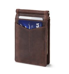 Genuine Leather Minimallist Money Clip Wallet-RFID Protected