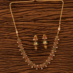 3267b652ef Wedding Brass & Copper Antique Delicate Necklace Set with Gold Plating  200723