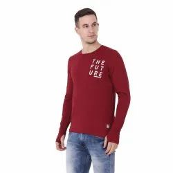 Round Neck Full Sleeves Side Printed T-Shirt