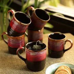 ExclusiveLane 'Crimson Nightfalls' Studio Pottery Glazed Tea & Coffee Cups In Ceramic (Set Of 6)