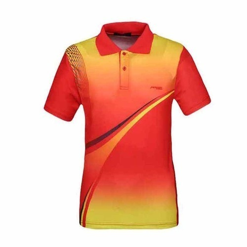 b0a2c25a5dfec Polyester Red And Yellow Mens Sports T Shirt Rs 300 Piece Id