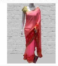blush Peach Chiffon Saree, Size: Free Size