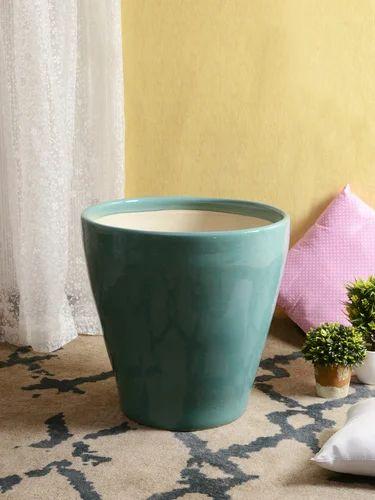 Glazed Ceramic Opal Blue Planter Pot