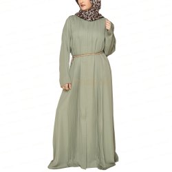 Olive Green Accordion Pleats Abaya