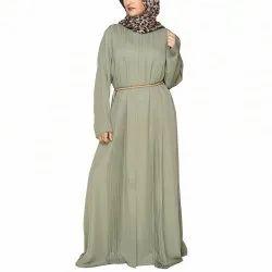 Olive Green Accordion Pleats Abaya