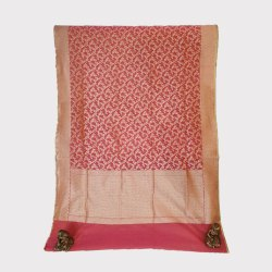 Party Wear Border Pink Jari Chanderi Silk Saree, 5.5 m (separate blouse piece), With blouse piece