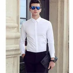 White Cotton Mens Formal Shirts