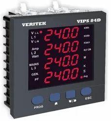 Veritek Three Phase Energy Meter Dual Source LED VIPS 84D, For Industrial