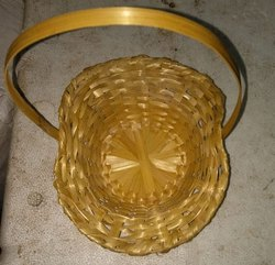 Bamboo Topi Basket Natural with Handle