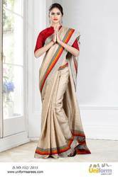 Golden and Red Uniform Plain Saree
