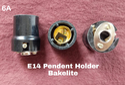 Bakelite Black E14 Pendant Holder Small 6a, 220volt