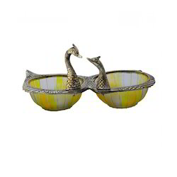 Kissing Duck Shape Oxidize Metal & Glass 2 Bowl Set