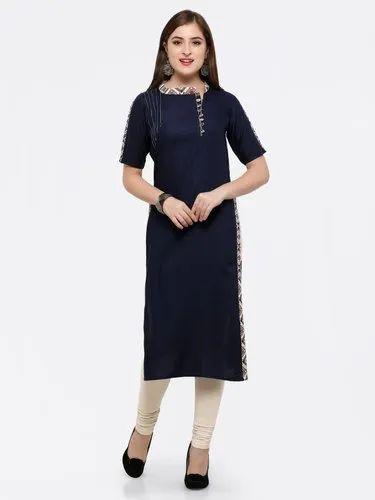 Kesariya Fashion Stitched Party Wear Long Rayon Embroidery Mustard Kurti