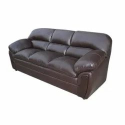 Living Woods Modern Brown Leather Three Seater Sofa