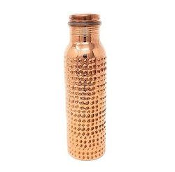 AIC Screw Cap Hammered Copper Bottle, Capacity: 950 Ml, Size: 28 Cm