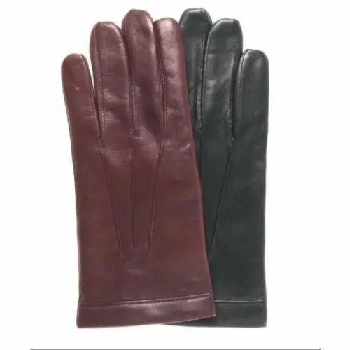 23c9d39ad4a2 Brown And Black Cashmere Lined Leather Gloves