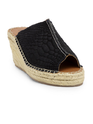 Female Suede Embossed Leather Wedges With Braided Outsole Sandle