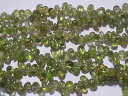 Natural Peridot Teardrop Stone Bead Strands